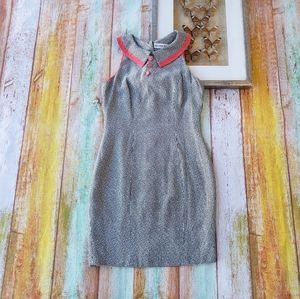 Vintahe Geometrie Houndstooth Button Sheath Dress